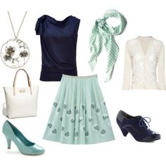 aqua and navy ... great summery outfit for work ... err when I get a job that requires me to work summers LOL