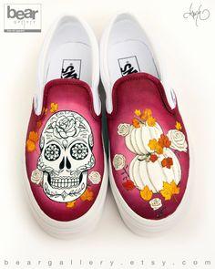 Custom Painted Sugar Skull Vans Shoes - Hand Painted Sugar Skull, Pumpkins and Roses Painted Vans, Hand Painted Shoes, Custom Vans Shoes, Custom Sneakers, Rose Vans, Glitter Nikes, Shoe Last, White Shoes, Custom Paint