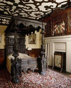 THAT CEILING!  Gothic Victorian Bedroom Check us out on Fb- Unique Intuitions #uniqueintuitions #gothic #victorian #bedroom