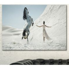 """DesignArt 'Huge Horse and Lady on Desert' Photographic Print on Wrapped Canvas Size: 30"""" H x 40"""" W x 1"""" D"""