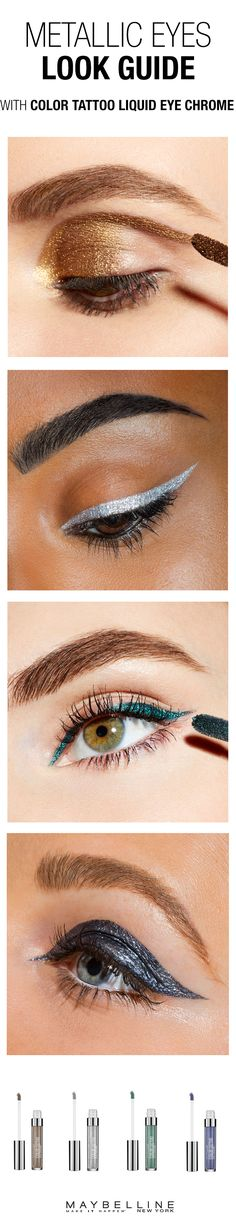 Metallic makeup is so hot this Fall. Follow this makeup guide for inspiration on how to achieve a metallic eye. Whether you want a gold eye or metallic winged eye look, Maybelline has 8 shades in Color Tattoo Liquid Eye Chrome.