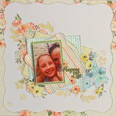 Stunning single page layout using FabScraps C105 Memory Lane collection.