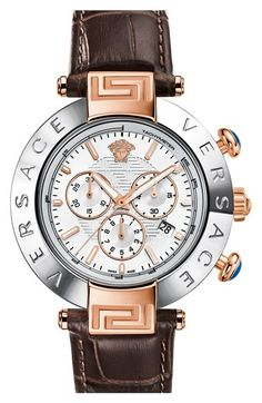Versace+'Reve'+Chronograph+Alligator+Leather+Strap+Watch,+46mm+available+at+#Nordstrom