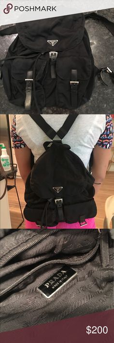 PRADA BACKPACK/ PURSE Authentic Prada backpack. Great for vacations and travel! Small rip on seam on inside of bag. I used a safety pin to close it! Other than that, bag is in great condition on the outside! Prada Bags Backpacks