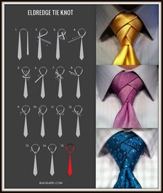 Eldredge Knot for ties - very handsome! Cool Tie Knots, Cool Ties, Mens Fashion Suits, Mens Suits, Tie Knot Styles, Mode Poster, Tie A Necktie, Windsor Knot, Style Masculin