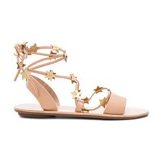 Starla Sandal by Loeffler Randall. Leather upper with rubber sole. Lace-up front with wrap tie closure. Metallic leather accents. LOEF-WZ257. STARLA VAC...