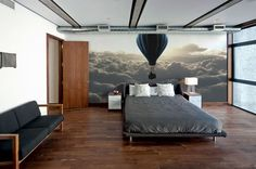 Fototapete Above The Clouds - Inspiration fototapete, Raumgestaltung - Galerie Home Office Design, House Design, Bedroom Wall, Bedroom Decor, Inspiration Wand, Mural Wall Art, Above The Clouds, Interior Design Inspiration, Design Ideas