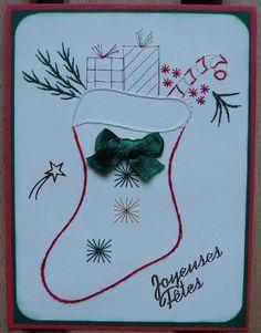 """carte de vœux brodée chaussette de Noël message """"Joyeuses Fêtes"""" rouge et verte : Cartes par cdine08"""