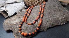 Kette aus Sardegna Koralle und Lava