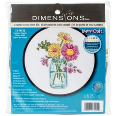 "Learn-A-Craft Summer Flowers Counted Cross Stitch Kit-6"""" Round 14 Count"
