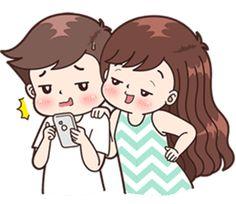 Boobib cute couples(for girl)( sticker set Cute Chibi Couple, Love Cartoon Couple, Cute Couple Comics, Cute Love Couple, Anime Love Couple, Cute Bear Drawings, Cute Couple Drawings, Cute Love Pictures, Cute Love Gif
