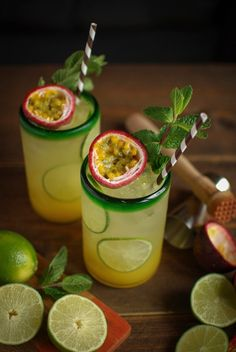 Mint and rum passion fruit cocktail