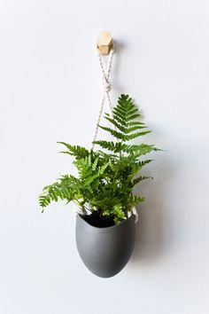 Porcelain & Cotton Rope Hanging Planter | lightandladder on Etsy