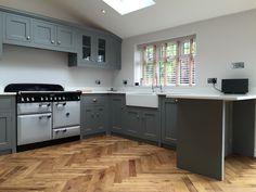 Black glaze over pickled wood hand glazed cabinets pinterest kitchen cabinets kitchen for Bespoke kitchen design nottingham