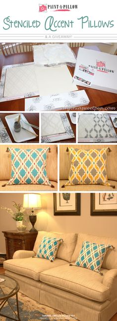 Cutting Edge Stencils shares DIY painted accent pillows using the Tamara Trellis stencil from Paint-A-Pillow.   http://www.paintapillow.com/?utm_source=JCG&utm_medium=Pinterest&utm_campaign=Home%20Page