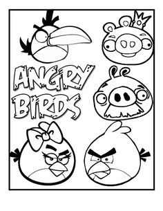"""Angry Birds Coloring Pages--Use for """"Angry Verbs"""" bulletin board!  Students write a sentence and underline the noun on their bird, then color and post in Angry Bird style on a bulletin board!  FUN FUN FUN."""