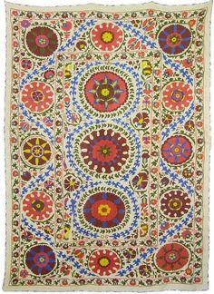 Suzani Folk Art Textile For Interior Design & by SilkRoadCaravans, $400.00