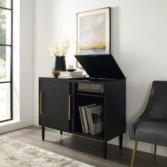 Crosley Everett Media Console Table in Matte Black Record Player Cabinet, Vinyl Record Cabinet, Sliding Cabinet Doors, Mdf Frame, Black Furniture, Gothic Furniture, Furniture Redo, Modern Furniture, Mid Century Modern Design