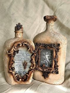 mariann's paper world altered bottle using mod podgeThese wine bottle crafts present you with a ton of ways to pull out and reinvented this daily piece.Love the picture frame idea.Wine Storage Temperature And Serving Suggestions Old Wine Bottles, Recycled Wine Bottles, Wine Bottle Art, Diy Bottle, Vintage Bottles, Bottles And Jars, Perfume Bottles, Glass Bottles, Beer Bottle
