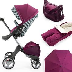 beautiful stokke xplory stroller with coordinating purple accessories for baby