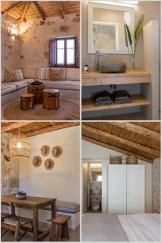 Our rooms combine luxury with traditionality by connecting natural stone with wooden beamed ceilings. Beamed Ceilings, Ceiling Beams, Modern Luxury, Natural Stones, Rooms, Rustic, Mirror, House, Furniture