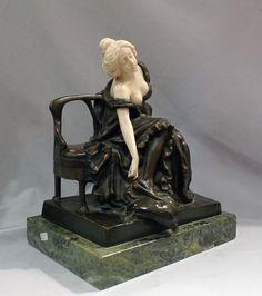 Art Nouveau bronze and ivory sculpture of girl on a bench by P Tereszczuk. - Gavin Douglas Antiques