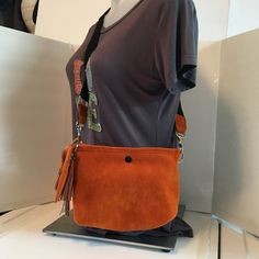 Brown suede Cross body bag leather hand by CreationsByLaurieAnn