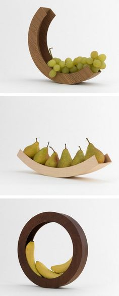 Modern Fruit Bowl - Creative wooden fruit bowls by Belgian artist Helena Schepens [These shapes catch the eye and make good fruit bowls; I often have bananas to store] Modern Fruit Bowl, Modern Bowls, Creation Art, Bowl Designs, Design Poster, Wood Design, Design Art, Modern Design, Wood Art