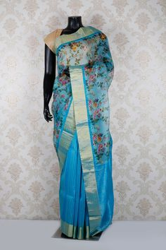 Sky #blue pure #tussar silk alluring #saree with printed #pallu -SR12730