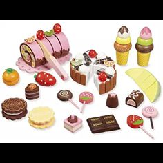 Toy shop accessories -Sweets- This is a nice wooden assessories-set for the play shops. There are 20 parts included, for instance: cakes, chocolate, sweets and fruits. Some parts you can cut with the wooden knife Wooden Toy Shop, Wooden Toys, Dango Peluche, Toys For Girls, Kids Toys, Boy Toys, Kitchen Sets For Kids, Hape Toys, Mudpie
