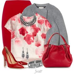 Red Skirt by juli67 on Polyvore featuring мода, Lela Rose, Rebecca Taylor, Jaeger, Gianvito Rossi, Burberry and David Yurman