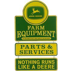This John Deere 'Quality Farm Equipment' Linked Wall Art by Open Road Media is perfect! Jd Tractors, John Deere Tractors, John Deere Decals, John Deere Kitchen, John Deere Store, John Deere Equipment, Trucks And Girls, Logo Sign, Truck Design