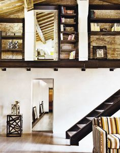 I think lofts with wooden beams were made for me. Loft Design, Modern House Design, Home Interior Design, Interior Architecture, Room Interior, Staircase Architecture, Vintage Architecture, Design Interiors, Vacation Home Rentals