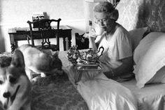 Queen Elizabeth taking tea in bed with her corgis: