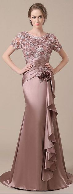 Elegant Stretch Satin Scoop Neckline Lace Mermaid Mother of The Bride Dresses