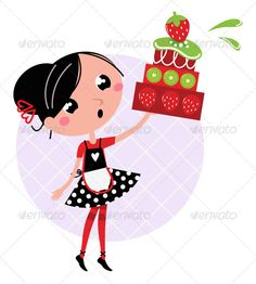 Retro kitchen girl with big fruity cake  #GraphicRiver         Cute retro girl holding Cake. Vector cartoon illustration     Created: 19December11 GraphicsFilesIncluded: VectorEPS Layered: No MinimumAdobeCSVersion: CS Tags: bake #bakery #baking #cartoon #cheerful #cook #cooking #cream #cuisine #cute #delicious #female #food #fresh #fruity #girl #housewife #illustration #isolate #isolated #kitchen #kiwi #red #retro #strawberry #sweet #white #wife #woman