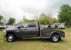 2014 Ram 3500 Tradesman Crew Cab 4X4 with a custom 8-foot Herrin Hauler Truck Bed. Herrin Hauler is a quality truck builder and at the Trucking Duo we offer their hard working truck beds for our Ram Trucks. #herrinhauler #ram3500