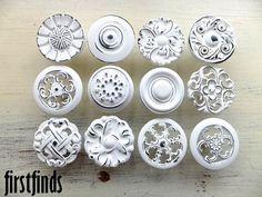 Shabby Chic White Kitchen Cabinet Knobs Vintage Misfit Pulls