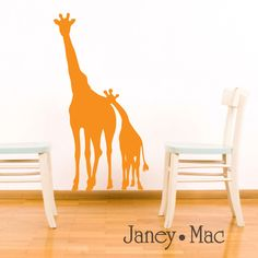 SALE - Giraffe Wall Decal Jungle Safari - Mom and Baby Silhouette - Nursery Children's Bedroom Vinyl Wall Art Sticker. $12.00, via Etsy.
