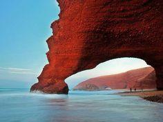 Natural stone arch along beach at Legzira, near Sidi Ifni