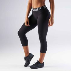 a10e399a93462 Gymshark Fit Cropped Legging - Black/White at Gymshark UK | Be a visionary.