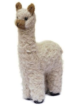 """CUTE! This decorative miniature Felted Alpaca Ornament is adorable. The optional little Hat (""""chullo"""") even has slots for the ears! Hand made from true artisans. Brings charm and delight to any room."""