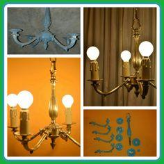 Delicada araña en bronce con cuatro lámparas.