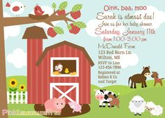 Farm Themed Baby Shower Invitation Farm by PinkLemonadeTree, $12.50
