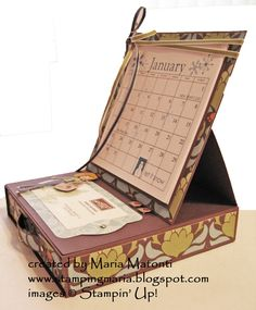 Maria's Stamping Station: Easel Box Tutorial - use with calendars Scrapbooking, Scrapbook Cards, Cadeau Surprise, 3d Paper Crafts, Altered Boxes, Easel Cards, Card Tutorials, Diy Box, Folded Cards