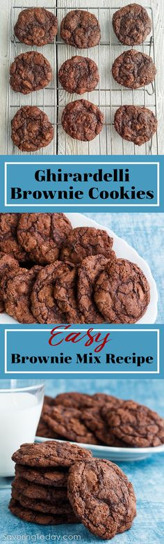 This easy brownie cookie recipe can be made with any brownie mix, but we love using Ghirardelli double or triple chocolate brownie mix. If you're a fan of the chewy edge pieces lining a pan of brownies, you'll love these cookies. Make and freeze so you have dessert on-hand for potlucks and surprise company anytime.