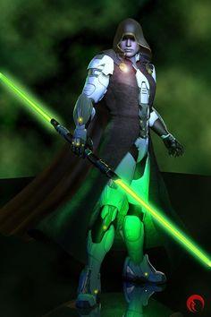 Jedi Master Hunter - Human-Cyborg jedi Master & Director of Jedi… Star Wars Rpg, Star Wars Jedi, Star Trek, Jedi Sith, Jedi Knight, Comic Movies, Star Wars Characters, I Movie, Stars
