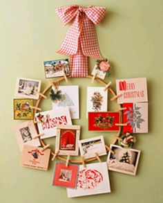 Christmas Card Wreath.. use for homemade christmas cards to display
