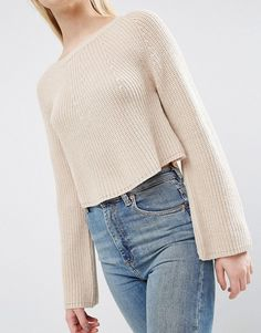 ASOS | ASOS Cropped Sweater In Rib with Wide Sleeve Ribbed knit Crew neck Wide cut cuffs Crop length Regular fit - true to size Machine wash 100% Acrylic