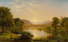 Jasper Francis Cropsey (American, Preparing the Boats at Greenwood Lake, 1858 Oil on canvas x - Available at 2016 May 7 American Art. Landscape Art, Landscape Paintings, Landscapes, Greenwood Lake, Hudson River School, Winter Painting, Amazing Paintings, American Indian Art, Watercolor Artists